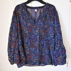 Long Sleeve Dark Blue Blouse with Floral patterns